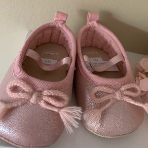 Carters newborn baby girl pink shoes
